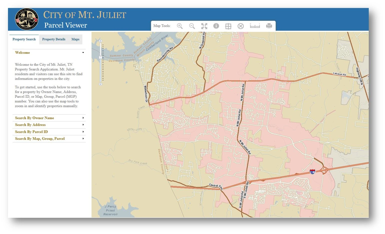 Utilize the interactive map of the City of Mt. Juliet.